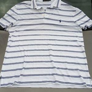 POLO Ralph Lauren White Polo With Stripes L EUC